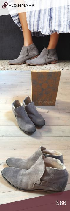 Free People SUMMIT ANKLE BOOT Grey runs small Brand New with Box. Free People Summit Ankle Boots. Color is Grey Suede. Retails for $168. Size 40. Run small and narrow. These boots are made of vintage inspired distressed suede that have been individually hand washed to achieve a worn-in look and feel. Featuring naturally vegetable tanned leather, this pair will soften and mold with each wear. Free People Shoes Ankle Boots & Booties