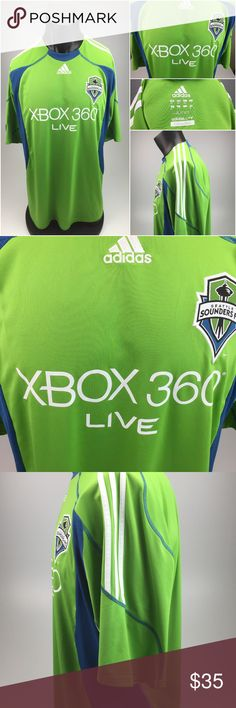 Seattle Sounders FC MLS Soccer Jersey 2XL D0-10 Description: Seattle Sounders FC MLS soccer jersey Brand: Adidas Style: Jersey Sleeve: short Size: tagged as a 2XL but please view measurements below Color: Green Condition: Pre-owned  The measurements are as follows laying flat:  1. Back shoulder seam to seam - 19 inches  2. Arms - 11 inches  3. Under arm to Under arm - 25 inches  4. Top to bottom - 33.5 inches adidas Shirts