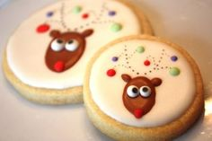 Reindeer Cookies~ By Whimsical Originals db, Christmas lights, round Christmas Food Gifts, Holiday Snacks, Christmas Sweets, Christmas Cooking, Christmas Lights, Reindeer Cookies, Christmas Sugar Cookies, Christmas Cupcakes, Holiday Cookies