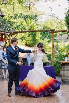 An airbrushed dress at a colorful forest wedding slayed Dipped Wedding Dress, Ombre Wedding Dress, Wedding Dress Trends, Long Wedding Dresses, Wedding Gowns, Wedding Dresses With Color, Rainbow Wedding Dress, Wedding Ideas, Cabin Wedding
