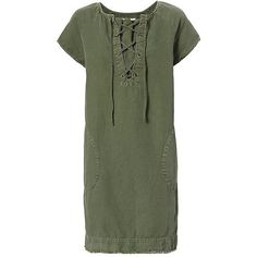 Nili Lotan Lace-Up Army Dress ($498) ❤ liked on Polyvore featuring dresses, short sleeve dress, green dress, laced dress, laced up dress and green short sleeve dress