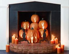 Fireplace display for fall