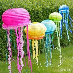 DIY Jellyfish Lantern from Party City Party Fiesta, Luau Party, Beach Party, Little Mermaid Parties, The Little Mermaid, First Birthday Parties, First Birthdays, Birthday Ideas, Diy Birthday