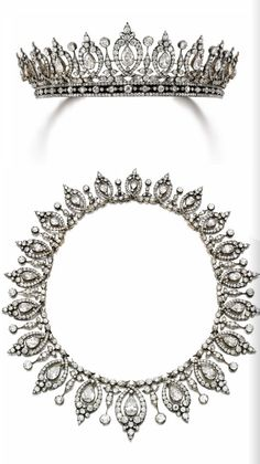 Belle Epoque diamond tiara/necklace, late 19th century Mary, Duchess of Roxburghe. Tiara detaches to form and necklace (shown) and a bandeau.