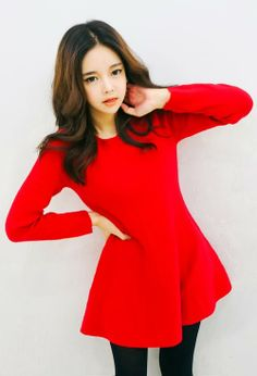 [YUBSSHOP] KNITTED FIT AND FLARE SWEATER DRESS