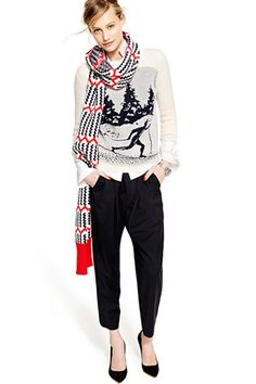 Going to an ugly-sweater party? Of course you are. Keep things chic by wearing it on top of an oversized silk shirt, slouchy pants, and an expertly pointed velvet pump. J.Crew Skier Sweater, $98, available at J.Crew; J.Crew Collection Draped Pant In Italian Wool, $425, available at J.Crew; J.Crew Everly Suede Metallic Trim Pumps, $265, available at J.Crew; J.Crew Zigzag Stripe Scarf, $68, available at J.Crew; Thomas Mason For J.Crew Boy Shirt, $148, available at J.Crew.