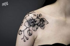 Blackwork Orchid Tattoo by panterart