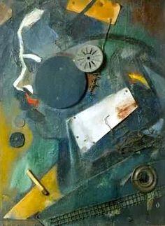 Kurt Schwitters, Merzbild 1A 'de Psychiater', 1919. Olieverf, assemblage en collage van diverse voorwerpen. Museo Thyssen-Bornemisza, Madrid.