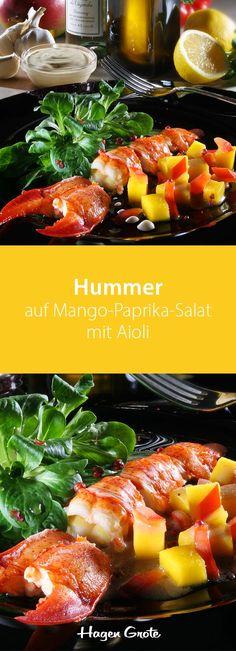 Hummer auf Mango-Paprika-Salat mit Aioli