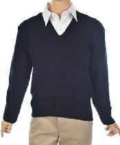 """T. Q. Knits Boys Control-Pil """"Ribbed Interrupted"""" V-Neck Sweater (Sizes 8 - 20)"""