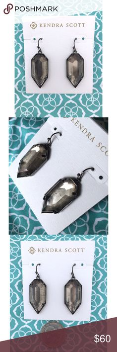 NWT Kendra Scott Palmer Mirror Rock Crystal Bold drop earrings in gunmetal and faceted mirror rock crystal to add structure and subtle sparkle to any outfit! Add to your collection or start a new a one! Perfect condition, never worn! Kendra Scott Jewelry Earrings
