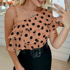 Chance Description of Blouses Women Fashion Elegant Short Sleeve Blouse Shirt Skew Collar Chiffon Blouse Loose Polka Dot Sexy Shirts Blusa Camisas If You want to buy for Blouses+&+Shirts, t… Jean Dress Outfits, Stylish Girls Photos, Sexy Shirts, Short Sleeve Blouse, Pretty Outfits, Shirt Blouses, Dressing, Blouses For Women, Shirt Style
