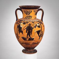 Terracotta neck-amphora (jar)  Attributed to the Acheloös Painter     Period:      Archaic  Date:      ca. 510–500 B.C.  Culture:      Greek, Attic