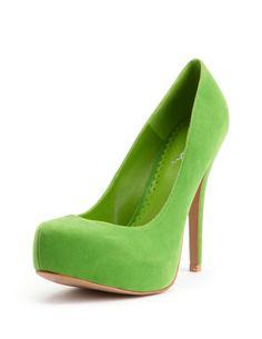 lime green velvet pumps $30