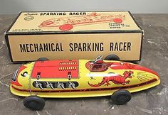 Vintage Lupor Tin Litho Mechanical Sparking Racer Wind Up Car Toy Mint in Box
