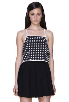 d92cb6c48df7 HATCH GRID TANK & WIDE KNIFE PLEAT SKIRT #byjohnny #abstrACTION  #SPRING2015 #