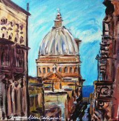 Stunning Doranne Alden Original Valletta View Malta Acrylic Painting | eBay