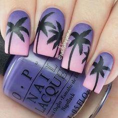 Awesome beach sunset on nails summer nails, palm tree nails, diy nails Pretty Nail Art, Cute Nail Art, Cute Acrylic Nails, Beautiful Nail Art, Nails Yellow, Palm Tree Nails, Manicure E Pedicure, Manicure Ideas, Best Nail Art Designs