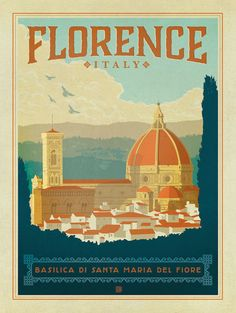 Vintage Travel Poster - Florence -Basilica di Santa Maria del Fiore - Italy by Anderson.