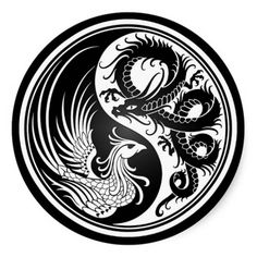chinese dragon and phoenix line art - Google Search
