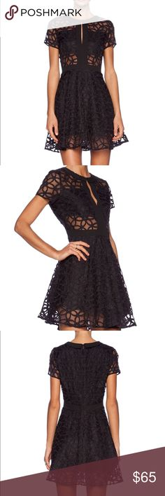 Lucca Couture Sheer Panel Dress Black Dress; Poly blend; Fully lined; Embroidered floral accent; Hidden back zipper closure Lucca Couture Dresses Mini