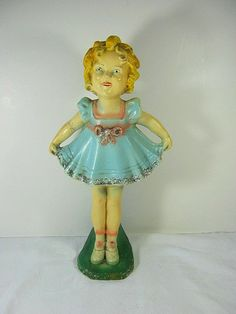 Vintage 30s SHIRLEY TEMPLE Carnival Chalkware Statue    by LavenderGardenCottage etsy