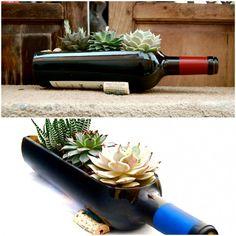 Vasos com garrafas de vidro – Ideias Diferentes