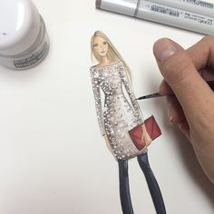 Fashion Illustration using Copic markers and Opaque White. Instagram. hnicholsillustration