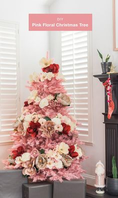 Pink Christmas Tree with tropical florals Christmas decorating holiday DIY with Afloral and Treetopia #christmasdiy #diy #christmastree #bohochristmas