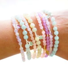 Spring is here! And it brings along new arm candy in the sweetest pastel colors! Boho Jewelry, Gemstone Jewelry, Spring Is Here, Bracelet Designs, Stretch Bracelets, Lilac, Amethyst, Gemstones, Crystals