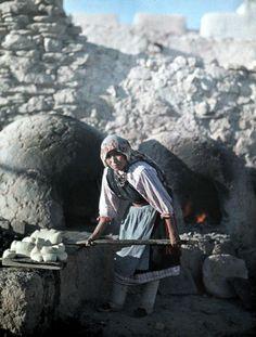 New Mexico - Pueblo woman puts bread into an oven in preparation for corn dance, Laguna