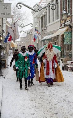 Sinterklaas (Sint Nicolaas) through the snow, Zierikzee, Netherlands