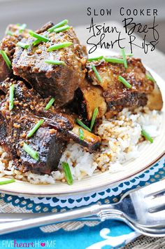 Slow Cooker Asian Beef Short Ribs ~ tender, savory beef from the crock pot, flavored with garlic, ginger, and sesame oil | FiveHeartHome.com...