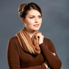 Premier Yarns Sweet Roll Tiramisu Cowl - free knitting patterns - knitted cowl pattern - how to knit a scarf