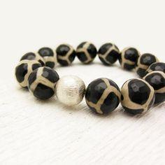 Safari Tibetan Agate Bead Bracelet w/ Brushed Sterling by @ByJodi