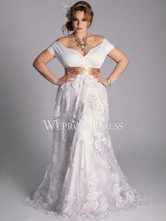 Enrole Plus Size andar de comprimento manga curta Natural Off-a-ombro vestidos de casamento de renda Acessíveis -wepromdresses.com