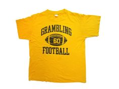 cheap for discount 9415b ab17a 80 s Vintage T Shirt Grambling University Football Yellow Tee
