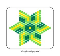 Beady Beads - Star 4a. Perler / Hama / Fusion / Melty / Pyssla Beads. Free Pattern Card! Visit my blog for more free patterns.