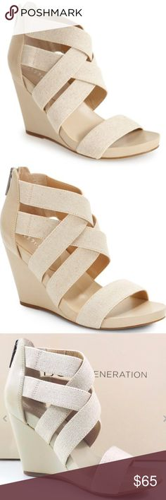 New BCBGeneration neutral wedges New darling wedge heel sandal with a strappy upper and a zipper entry for easy on and off -Interwoven elastic straps add impeccable modern style to a sleek. 3 3/4 in heel. BCBGeneration Shoes Wedges