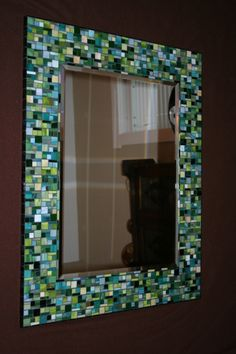 Shades of Green Stained Glass Mosaic Mirror Mirror Mosaic, Diy Mirror, Mosaic Art, Mosaic Glass, Mosaic Tiles, Mirror Bathroom, Mermaid Bathroom, Frameless Mirror, Glass Tiles