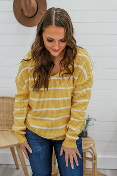 Yellow Striped Open Twist Back Sweater - UOIOnline.com
