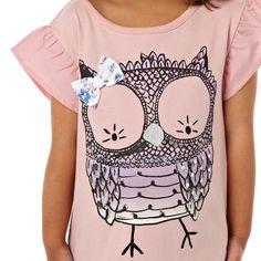 bluezoo Girl's pink owl top- at Debenhams.com
