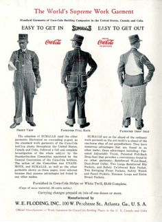 Uniforms authorized by the Coca-Cola Bottlers Committee on Standardization. Vintage Jeans, Vintage Outfits, Vintage Clothing, Coca Cola Bottling Company, Coca Cola Ad, Old Ads, Getting Out, Vintage Advertisements, The Ordinary