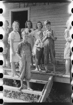 Mountain children on steps of school in Breathitt County, Kentucky Marion Post Wolcott September 1940