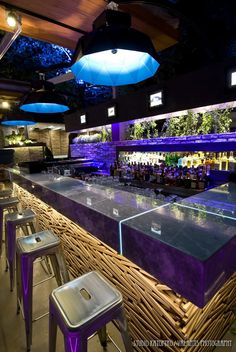ELIA the bar. Love the lighting. The bar top is an interesting contrast to the facing. #design #foodservice #bar