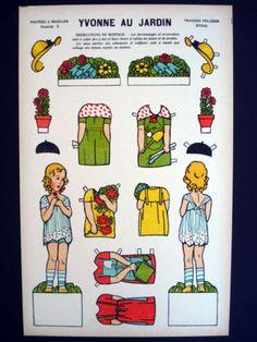 Vintage-Pellerin-Imagerie-Yvonne-au-Jardin-Bright-Uncut-Paper-Dolls-Inv1393