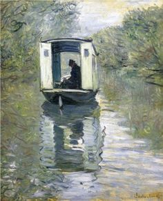 """The Studio Boat"" by Claude Monet 1878.    Claude Monet painted The Studio Boat in 1874. Shortly after he moved to Argenteuil, he bought a boat and converted it into a floating studio. He kept it moored near his home and used it to get a vista of the riverbank from the water."