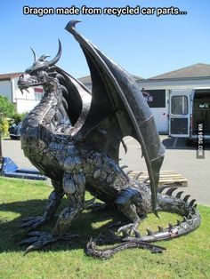 Funny pictures about Metal Dragon Sculpture. Oh, and cool pics about Metal Dragon Sculpture. Also, Metal Dragon Sculpture photos. Fantasy Dragon, Dragon Art, Fantasy Art, Dragon Statue, Dragon Garden, Fantasy Creatures, Mythical Creatures, Dragon Medieval, Sculpture Metal