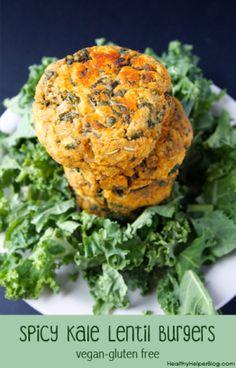 Spicy Kale Lentil Burgers- Healthy Helper