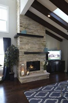 If you wish to begin on integrating a fireplace into your house, a pure stone fireplace might be the best option for you! Stone fireplace A stone veneer fireplace doesn't only appears trendy and fashionable, but it's also among the… Continue Reading → Ledger Stone Fireplace, Stone Veneer Fireplace, Stone Fireplace Makeover, Tall Fireplace, Simple Fireplace, Home Fireplace, Fireplace Remodel, Fireplace Design, Stacked Rock Fireplace